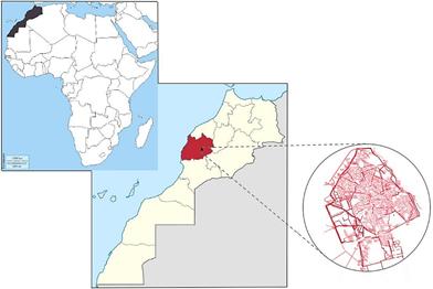 Figure 01 : Situation géographique de la médina de Marrakech.